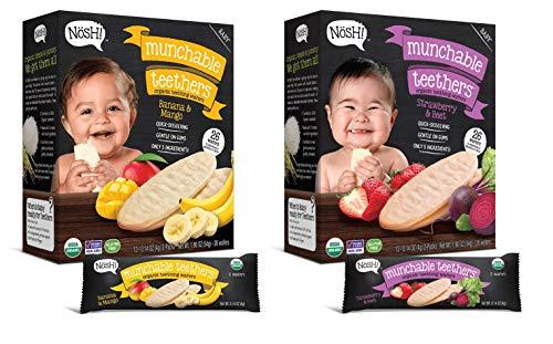 Nosh Baby Munchable Teethers Organic Rice Teething Wafers, 26 Piece, Sampler Pack (Pack of 2), Strawberry Beet & Banana Mango