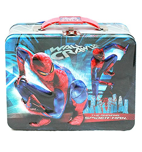 Spider-Man Inspired Tin Tote Metal Carry-all Lunch Box (Officially Licensed by Marvel) (Man Lunch Tin Spider Box)