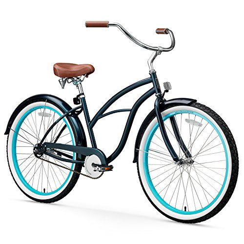 (sixthreezero Women's Single Speed Beach Cruiser Bicycle, Classic Dark Blue w/Brown Seat/Grips, 26