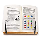 Bamboo Book Stand,wishacc Adjustable Book Holder