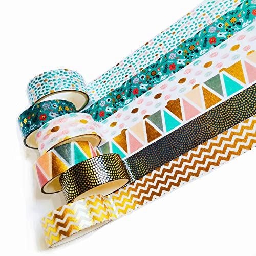 6 Rolls Washi Tape Set, Cute Green Gold Foil dots Plant Waves Triangle Colorful Craft Tape for Home Art Scrapbook Journaling Diary Notebook Planner Decoration Handmakers DIY Supplies,Gift Wrapping