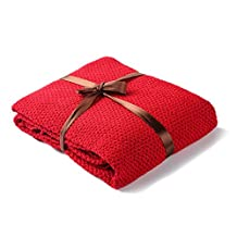 """EtechMart Lightweight Natural 100% Cotton Throw Blanket Knit for Lap Office Baby 53"""" x 30""""/80 x 130 cm Red"""