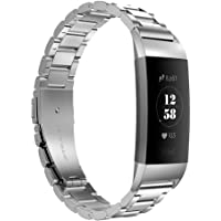 Fitbit Charge 3 Watch Strap, Stainless Steel Replacement Watch Bands Metal Bracelet Strap Smart Watch Adjustable Wristbands for Fitbit Charge 3 Fitness Accessories with Link Remover Tool Silver Prime