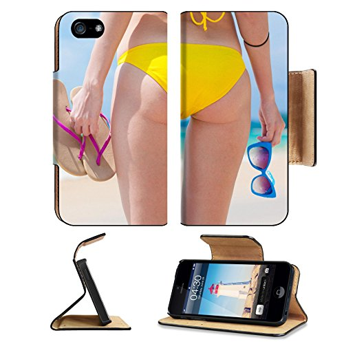 MSD Premium Apple iPhone 5 iPhone 5S Flip Pu Leather Wallet Case back view of woman in yellow bikini holding sunglasses and flip flops in her hand iPhone5 IMAGE - I Factory Sunglasses