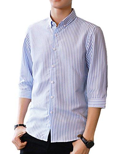 Gobuye 高品質 シャツ メンズ yシャツ メンズ ワイシャツ 細身 スリム 七分袖 メンズ シャツ ボタンアップ ストライプ シャツ カジュアル 春 夏 S58