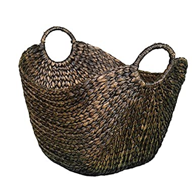 BirdRock Home Water Hyacinth Laundry Baskets (Espresso) | One Basket Included | Hand Woven