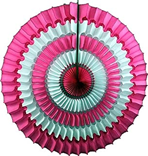 product image for Devra Party 3-Pack 16 Inch Striped Honeycomb Tissue Paper Fan (Vintage Rose/White)