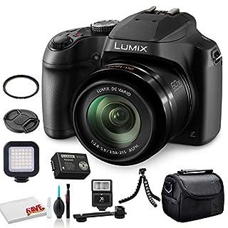 Panasonic Lumix DC-FZ80 Digital Camera (DC-FZ80K) - Bundle - with LED Video Light + Digital Flash + Soft Bag + 12 Inch Flexible Tripod + Cleaning Set + 55mm UV Filter