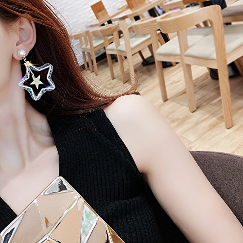 Pentacle Star Exaggerated Hollow Geometric Earrings Earring Dangler Eardrop Women Girls Long Creative Pearl Necklace Pendant Fashion Stars (Willing (White) Light mesh Grid Five-Pointed Star