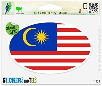 "Malaysia Flag Oval car window bumper sticker decal 5/"" x 3/"""