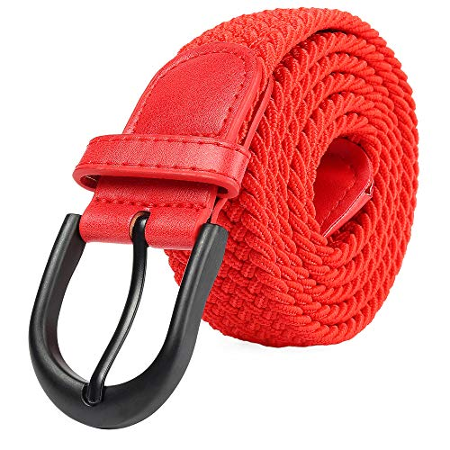 Braided Stretch Elastic Belt Pin Oval Solid Black Buckle Leather Loop End Tip Men/Women/Junior (Red, X-Small 24