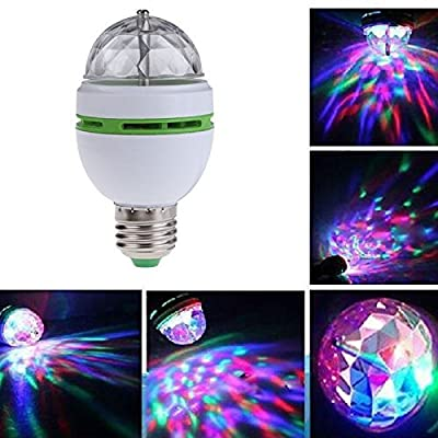 Angelduck Rotating Stage Light, LED Disco Party Bulb, Multi Changing Color, E27 Base