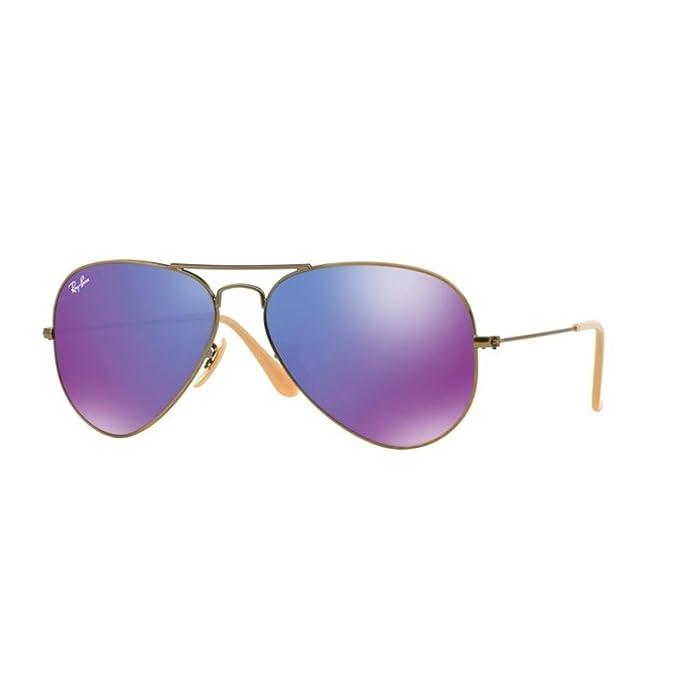 Ray-Ban Aviator Large Metal, Gafas de sol para Hombre, Marrón (Violet Mirror), 55