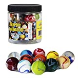 Toys : My Toy House Shooter Glass Marbles with Marble Jar For Storage, Set of 12, 1-inch, Assorted Colors