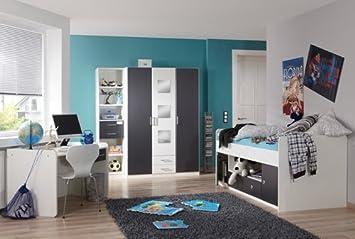 Jugendzimmer 3 Tlg. In Weiß Mit Absetzungen In Anthrazit, Kleiderschrank B:  Ca