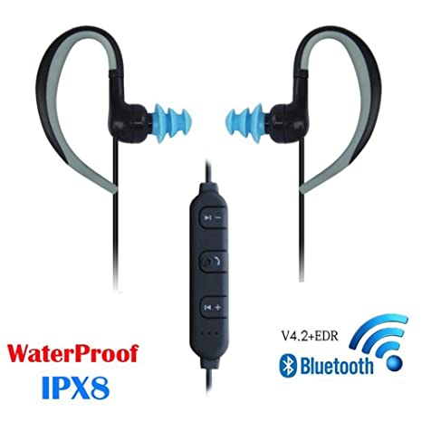 8047df30d95 Amazon.com: 3M Waterproof Wireless Bluetooth Earphones, Swimming Headphone  Around Neck HD Stereo in Ear Earbuds with Mic Noise Cancelling Headsets: ...