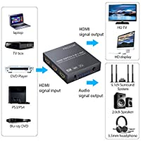 Proster 5x1 HDMI Switch with Audio Extractor 4K 3D HDMI Audio Converter with IR Remote HDMI to HDMI + Optical Toslink (5.1CH Mode) or Stereo Output with 6.5 Feet Optical Cable and 3.5mm Male to 2 RCA from Proster Trading Limited