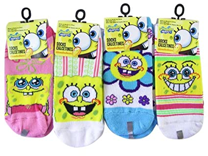 Nickelodeon Spongebob 3pc Girls Ankle Socks (Shoe Size 10.5 - 4) - Spongebob Socks