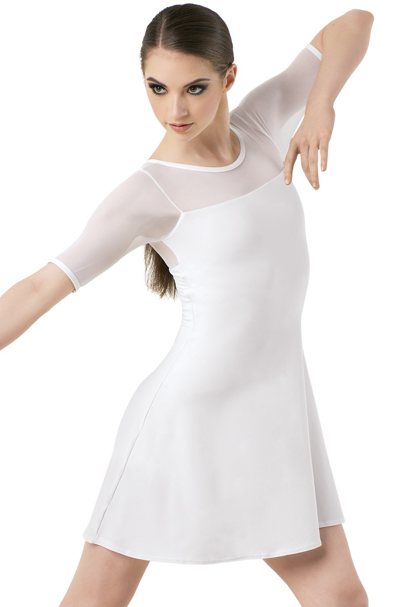 Balera Dress Girls Tunic For Dance With Mesh and Attachhed Biketard Shift Dress White Child Large by Balera