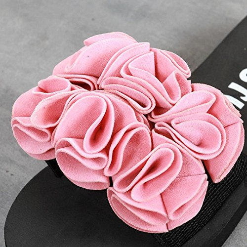 Byste Flip Flops Thong Sandals Shoes Beach Casual Slippers Bath Shower Wear Anti Slip Flexible Soles Well Breathable Flower Slip On Summer Waterproof Wedge Pink 6S1U1ROqD