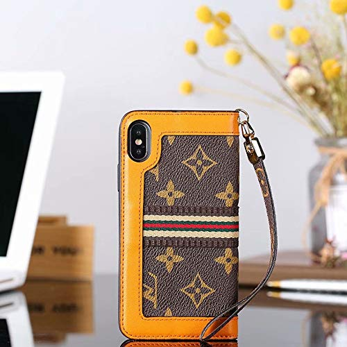 Phone case for iPhoneXR Wallet Case, 2 in 1 Wallet Luxury Elegant Leather Detachable Case Hand Strap Closure Flip Case with Box Package Case for iPhoneXR (Brown - Note Case 2 Vuitton Louis