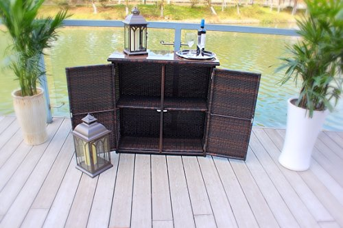 outdoor wicker and rust proof aluminum serving bar    buffet table unit - brown