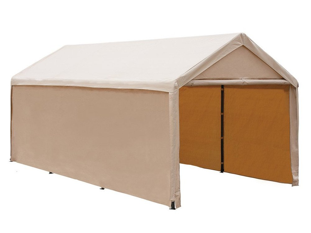 Abba Patio Carport Outdoor Heavy Duty Canopy Enclosed Shelter with Sidewalls, 10 x 20-Feet, Beige