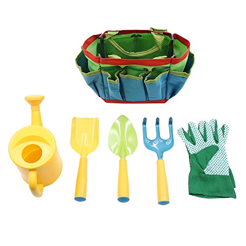 Kids Gardening Tool Set Rounded Edges and Tote Bags Great Spring Gift for (Edge Tote)