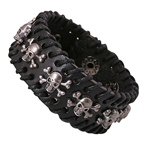 MORE FUN Punk Leather Skull Design Bracelet Crossbone Wristband Adjustable with a Gift Pouch (Studded Wristband Single)
