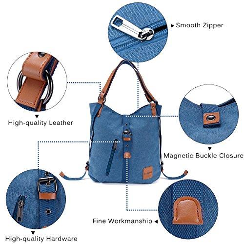 Fashion Handbag Girls Multifunctional JOSEKO Shoulder Casual Canvas Backpack Capacity Travel Rucksack Large for Ladies Blue Bag Women fA0H0wx