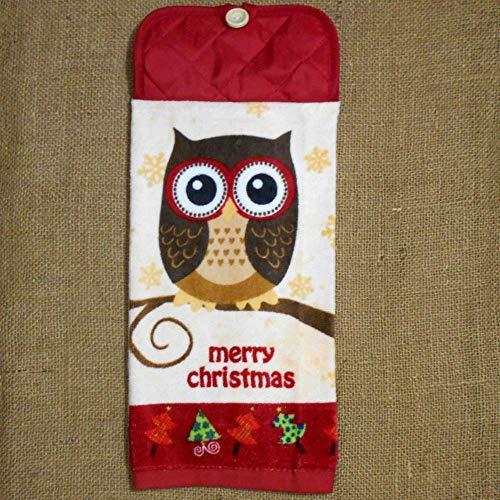 Christmas Owl Plush Hanging Kitchen Dish Towel