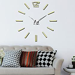 Vangold Morden DIY Wall Clock 3D Large Frameless Mirror Wall Clock Stickers for Living Room Office Kitchen (2-Year Warranty)
