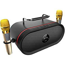 Portable Bluetooth Karaoke Machine[2018 Upgraded]with 2 Wireless Micphone,RHM Outdoor Smart HD Audio and Enhanced Bass Bluetooth PA Speaker Home Party, Built-in Three-Drive Speakerphone, Bluetooth 4.2