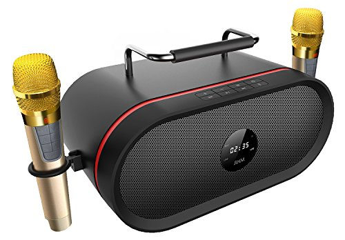 Portable Bluetooth Karaoke Speaker[2018 Upgraded]with 2 Wireless Micphone,RHM Outdoor Smart HD Audio and Enhanced Bass PA Bluetooth Speaker Home Party, Built-in Three-Drive Speakerphone, Bluetooth 4.0 by RHM