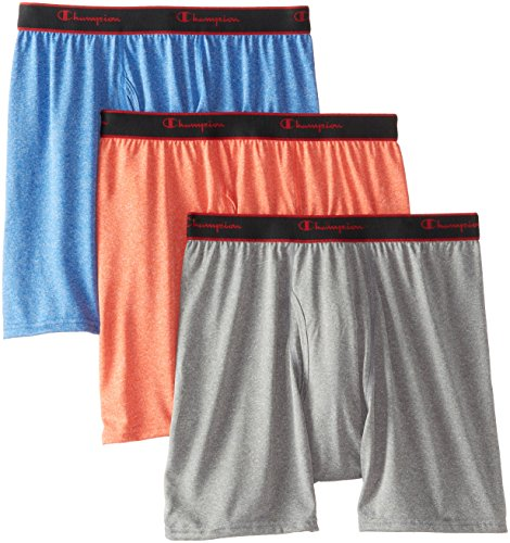 Gargoyle Ball (Champion Men's 3-Pack Active Performance Regular Leg Boxer Briefs, Poinciana/Athens Blue/Gargoyle Heathers, Small)