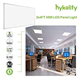 Hykolity 2x4 FT 50W 5000K Flat LED Troffer Panel Light, 0-10V Dimmable Drop Ceiling Flat Panel, Recessed Edge-Lit Troffer Fixture, Eligible for Nationwide Rebate Programs, 6250lm DLC Premium- 2 Pack