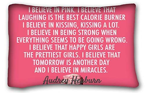 Uiowsbe Custom Famous Quotes I Believe in Pink I Believe That Laughing is The Best Calorie Burner I Believe in Kissing Pillowcase Pillow Cover Case Covers Size 20x30 inches Two Sided Print for $<!--$6.86-->