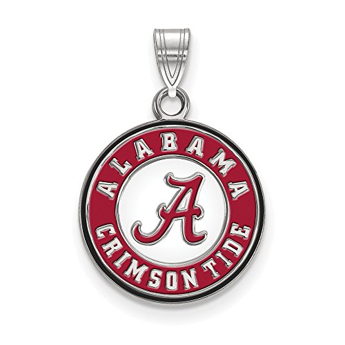 Roy Rose Jewelry Sterling Silver LogoArt University of Alabama Small Enameled Disc Pendant (Alabama Pendant Sterling Silver Jewelry)