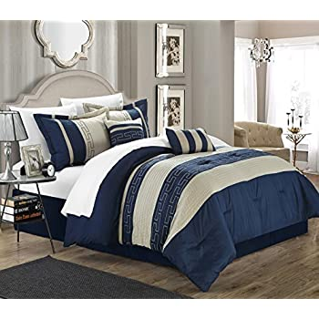 Amazon Com 7pc Microfiber Nautical Themed Comforter Set Navy Blue And White Striped