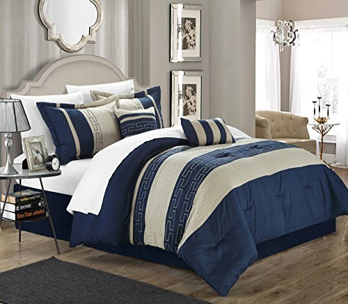 Carlton 10-piece Comforter Set King Size Navy; Sheet Set, Bedskirt, Shams and Decorative Pillows Included