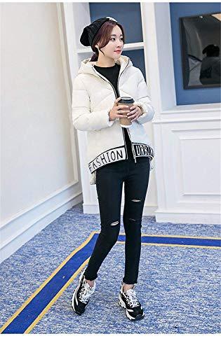 Modernas Elegantes Manga Invierno Blanco Encapuchado Hipster Espesar Larga Mujer Pluma Plumas Carta Acolchada Talla Huixin Chaqueta Grande Chaqueta Caliente Impresión Chaqueta xgqFPFv