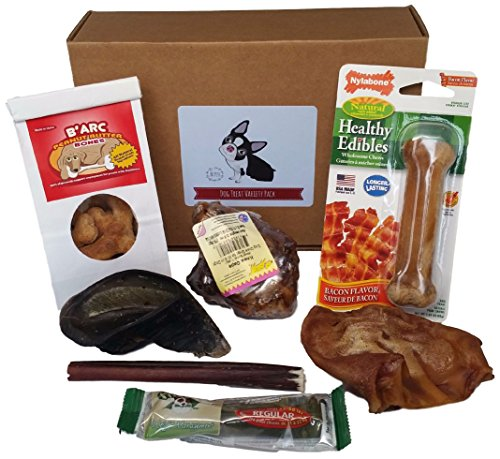 Dog Treats Made In USA Only Natural Cookies, Greenies, Edible Nylabone, Bully Stick, Cow Hoof, Pig's Ear, Knee Cap, Healthy Chews Variety Pack, Great Gift Box (Regular) by BK (Gifts For Pets)