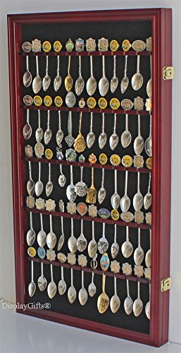 60 Spoon Rack Display Case Holder Wall Cabinet, UV Protection, Lockable (Cherry - Collector Holder