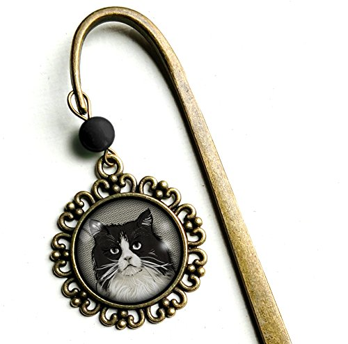 Fat Black and White Cat - brass bookmark - Hook Fat