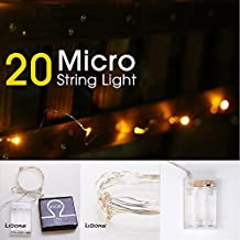 LIDORE Micro LED 20 Super Bright Yellow String Lights with timer. Battery Operated on 7.87 Ft Long silver ultra thin copper wire.