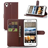 For HTC Desire 728 dual sim/728G Case Protective Cover Phone protect Cases Retro Simple Elegant Wallet Covers Pretty Premium PU Leather Shell - Brown Amaxy