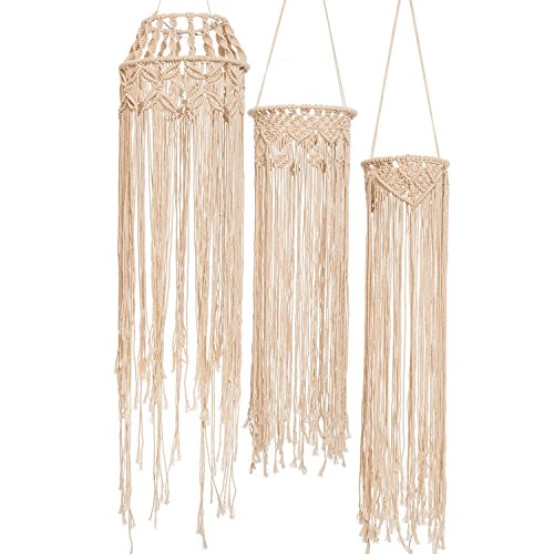 Ling's moment Bohemian Wedding Macrame Hanging Decoration, Urban Outfitters Room Decor Boho Wedding Backdrop, Rustic Macrame Wedding Chandelier Macrame Light/Lamp Shade, Set of 3