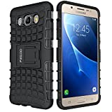 Galaxy J5 Case,Pegoo Shockprooof Impact Resistant Hybrid Heavy Duty Dual Layer Armor Hard Plastic and Soft TPU With a Kickstand bumper Protective Cover Case for (2016) Samsung Galaxy J5 (Black)