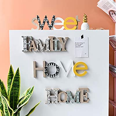 Family Vosarea English Alphabet Letter Wall Hanging Decoration Nordic Creative Sign Tabletop Decor Distressed Wooden Cutout Word Decor Word Art Wood Sitter