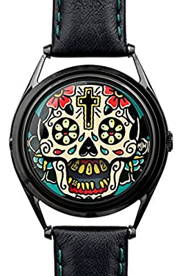 Mr Jones Unisex Last Laugh Tattoo Edition Stainless Watch - Black Leather Strap - Black Dial - 31-S4 from Mr Jones Watches